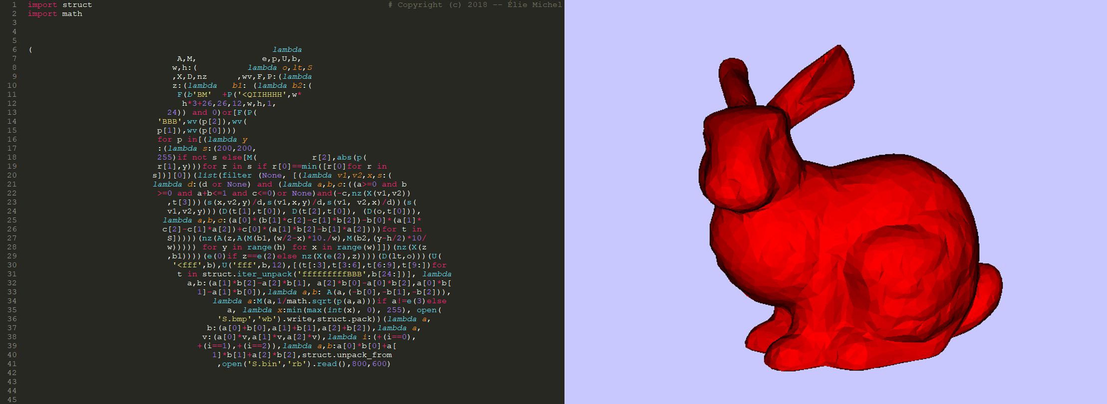 Obfuscated Python Bunny Calligram